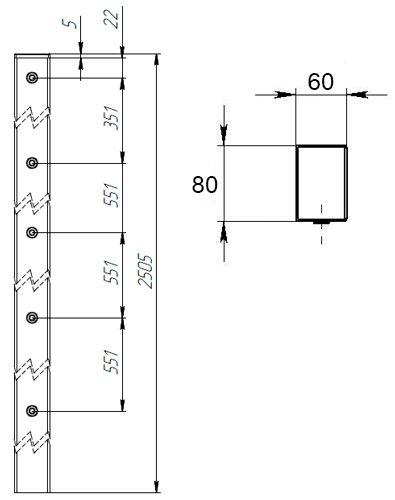 Квадратный металлический столб для забора из панелей ТЕХНА