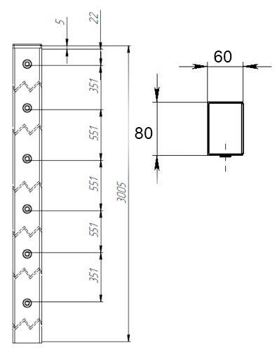 3-х метровый квадратный столб для забора из сварной сетки