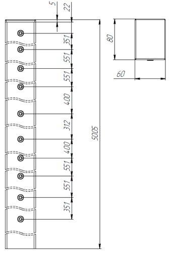 столб профилированный для секционного забора высотой 4м