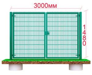 Секционные металлические ворота 3 метра
