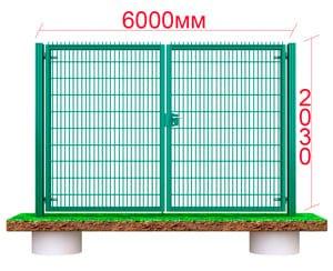 большие распашные металлические ворота