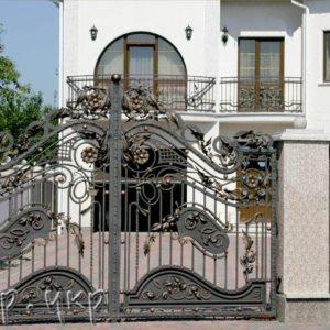 """Кованые ворота распашные №04-РО - Фото № """"1"""""""