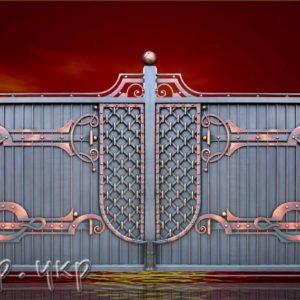 """Кованые ворота распашные №38-РЗ - Фото № """"1"""""""