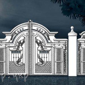 """Кованые ворота распашные №62-РЗ - Фото № """"1"""""""